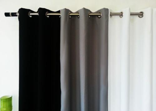 Ösen Vorhänge Ring Voll Gefüttert Paar Vorgefertigt Uni 3Tone Weiß Schwarz Grau
