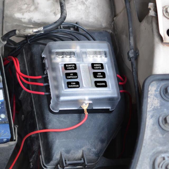 6-Way Blade Fuse Box Block Holder LED Indicator 12V 24V Auto Marine  Waterproof
