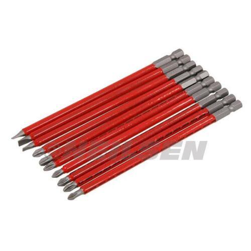 10pc 150 mm Antideslizante potencia Magnético Destornillador Bit Set con Caja de almacenamiento 4369