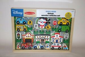 Disney-Mickey-Mouse-Deluxe-Wooden-Vehicle-Set-by-Melissa-amp-Doug-Age-3-NIB