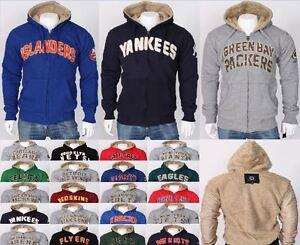 NHL NFL Winter Casual Hoodie Sherpa Lined Jacket Fur Sweatshirt Plus ... 58b10a95b
