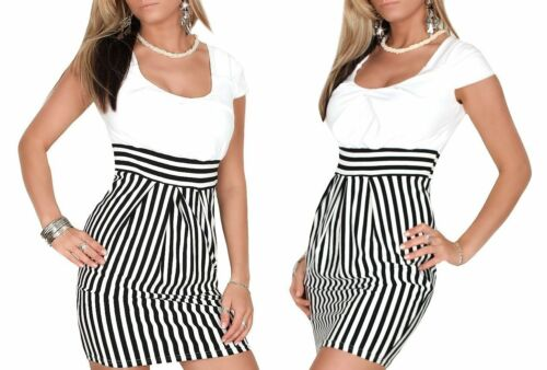 299 Damen Kleid Sommer Tunic Marine Mini gestreift Dunkel Blau oder Weiß  S M L