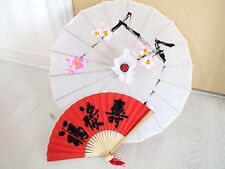 JAPANESE S WHITE PARASOL RED BLACK LUCK HAND FAN UMBRELLA CHINESE WEDDING PARTY