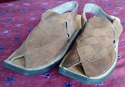 Kohati Hecho a Mano Pak Gamuza Balochi Chappal Brown Sandal tamaño 8.5, 9, 9.5 y 10