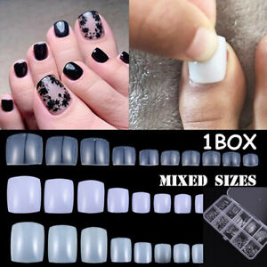 100X-Full-Cover-Artificial-Toenail-Foot-Fake-Nails-Nail-Art-Tips-Toe-False-Nails