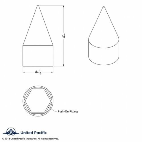 "1-1//2/"" x 4-1//8/"" Chrome Plastic Spike Nut Cover Push-On Truck Semi 10 Pack"