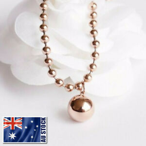 New-18K-Rose-Gold-Filled-Women-Round-Ball-Beads-pendant-Charm-Necklace-12mm-6mm