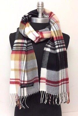 100/% CASHMERE SCARF Chevron Plaid Black//Gray//White Scotland Warm Wool Wrap New