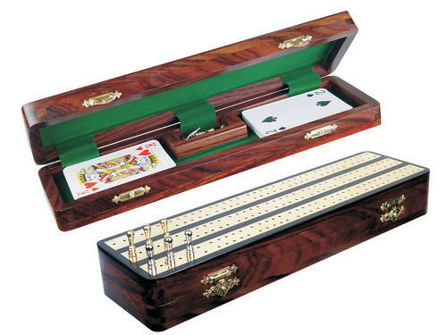Regalia Cribbage Board / Box in Ebony / Brass 12 - 3 Tracks