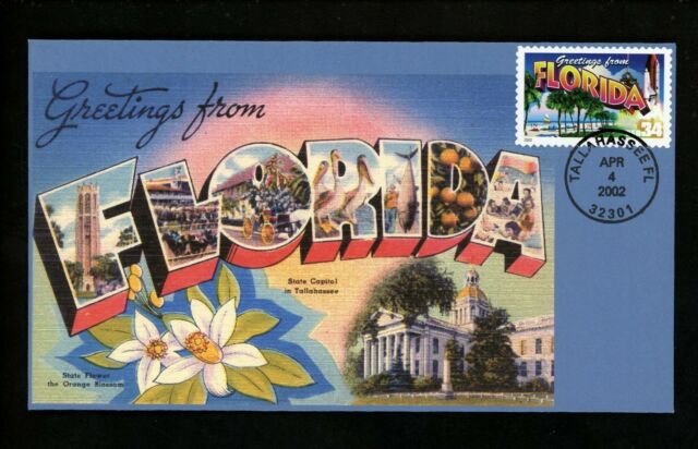 US FDC #3569 S & T Cachet Greetings From America Florida FL 2002