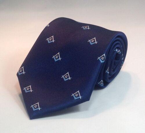 Masonic Square /& Compasses Woven Necktie Navy//Light Blue MSC-NT-NLB
