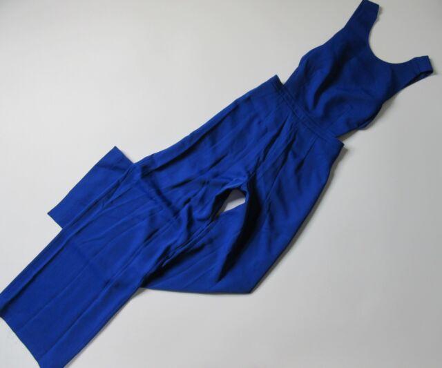 406f6937bc3 NWT BCBG MaxAzria Rossana in Royal Blue Satin Wide Leg Cutout Jumpsuit 4 x  32