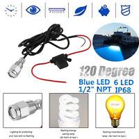 "6 LED 1/2"" NPT 12V 9W Underwater Boat Drain Plug Light Waterproof Connector Blue"