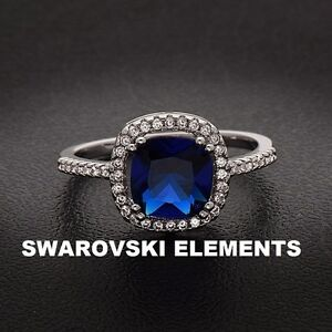 Details about 14K White Gold plated Cushion Sep-Lab Created Sapphire Ring  w/Swarovski Elements