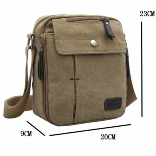 Vintage Mens Small Canvas Shoulder Bag  Leather Satchel School Military Messenge