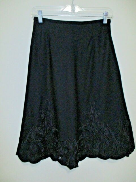 dcbaeb7f93a Talbots 2 Petite Black Skirt Floral Cutout Around Hem Black Career Flare  Lined
