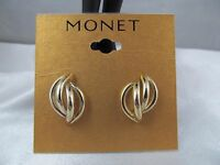 Monet Gold Open Work Shell Design Statement Earrings, Stunning