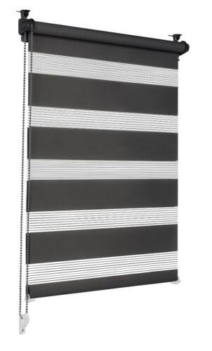 Doppelrollo schwarz 75x210cm Klemmfix Klemmrollo Seitenzug Zebrarollo Duo Rollo
