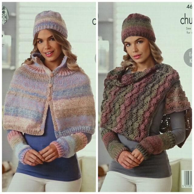 King Cole 4698 Knitting Pattern Womens Cape Shoulder Wrap ...