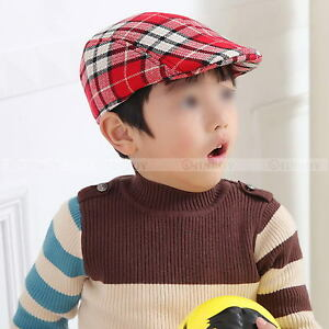 1589a0b7ac2 New Boys Kids Child Beret Flat Cap Houndstooth Plaid Newsboy Hat ...