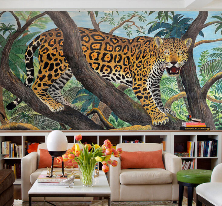 3D Leopard tree 108 Wall Paper Wall Print Decal Wall Deco Indoor wall Murals