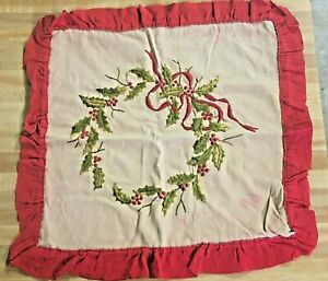 Vintage-Embroidered-Christmas-Holly-Wreath-Pillow-Sham-20-5-034-x-21-034
