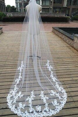 New Cathedral Length Wedding Veils Lace Appliques Long Bridal Veil Custom+comb