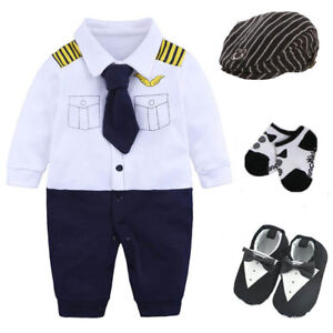 Newborn-baby-boy-party-birthday-gift-bodysuit-hat-socks-shoes-costume-pilot
