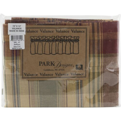 """Saffron Valance 72/"""" x 14/"""" Kitchen Park Designs Red Golden Tan Green Sage Plaid"""