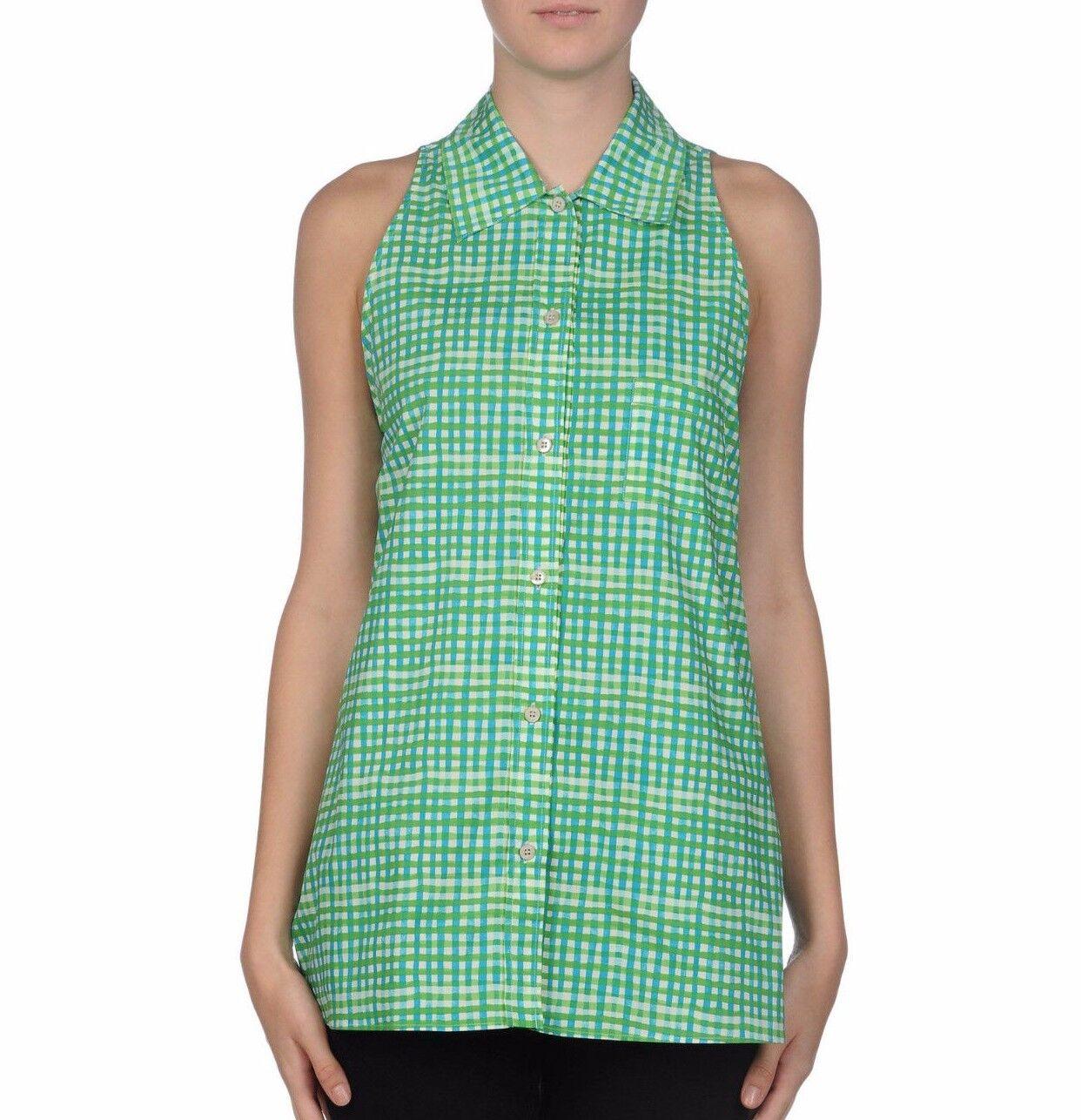 NWOT Authentic PRADA Cotton Blend Grün Sleeveless Shirt Top EU-38 US-2