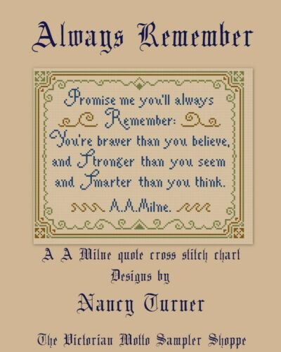 Always Remember quote antique sampler style,cross stitch chart,7pg,color/&symbls