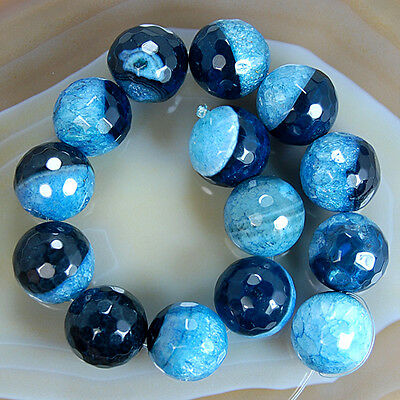 Faceted Black Blue Druzy Agate Round Gemstone Beads 12,14,16mm Pick Size