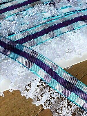 "Pretty Gathered Nottingham Lace Trim with Burgundy Ribbon 3/""//8cm laverslace"