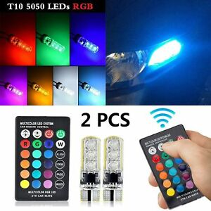 2Pcs-T10-RGB-5050-LED-Car-Wedge-Side-Light-Bulb-With-Remote-Control