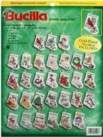 Bucilla Counted Cross Stitch Kit Tiny Stocking Ornaments Set Of 30 84293
