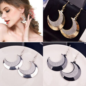 LONG-BIG-DISC-MOON-EARRINGS-DANGLE-DROP-SILVER-GOLD-BLACK-UK-SELLER