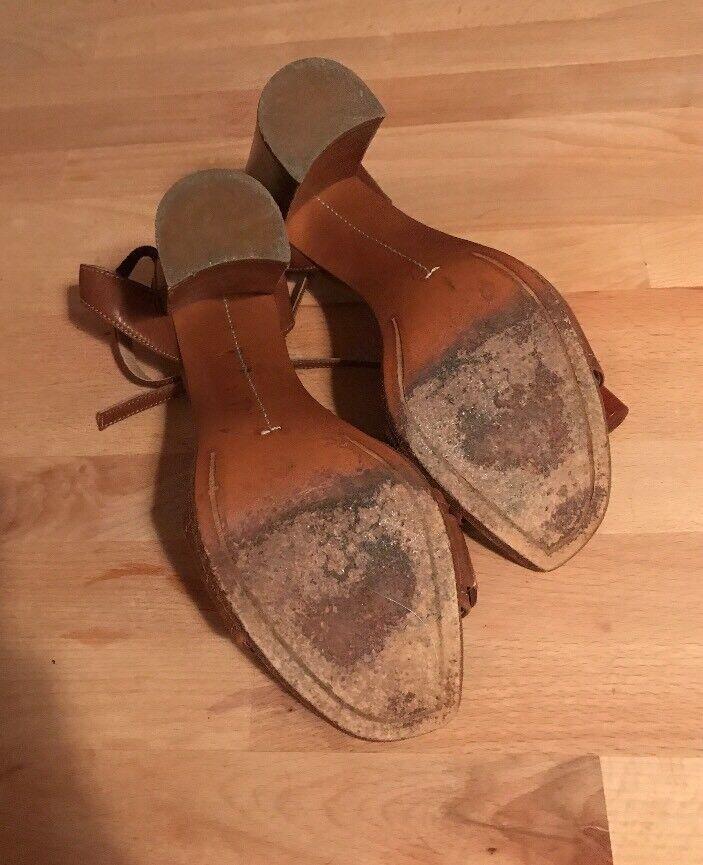 Vintage Samsonite Leder Wood Block 37 Heel Heels Sandales Sz 37 Block a5a146