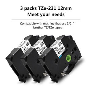 3-packs-Black-on-White-Label-Tape-Compatible-with-Brother-TZe-231-P-Touch-12mm