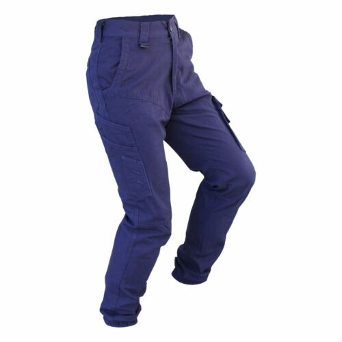 Cotton Work Wear Tapered Mens Cargo Pants Trousers Elastic Banded ankle cuff