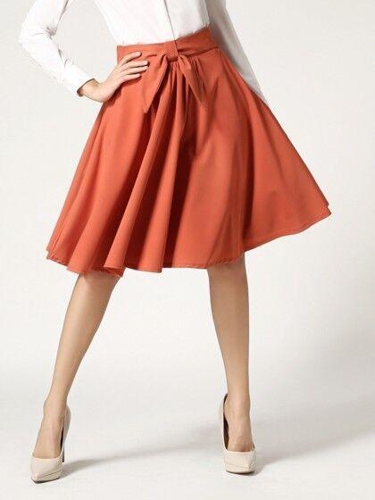 Women's High Waist orange New Style A-Line Swing Flare Skirt  - One Size
