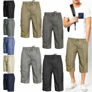 MENS-ELASTICATED-KNEE-LENGTH-OR-3-4-SHORTS-CARGO-COMBAT-MULTI-POCKET-SUMMER-PANT