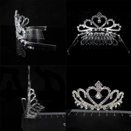 Wedding Bridal Prom Princess Crystal Diamante Crown Headband Tiara Hair Clip UK