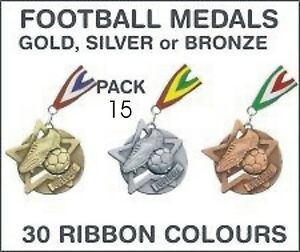 PACK-OF-15-1-30-each-Football-Star-Medals-and-Ribbon-60mm-Metal-SM1-MR1