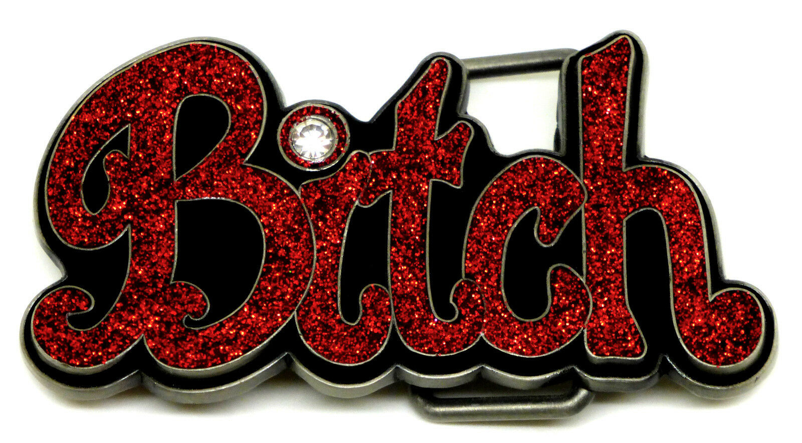 Bitch Belt Buckle Red Lettering with Glitter Party Girl Hen Authentic Siskiyou