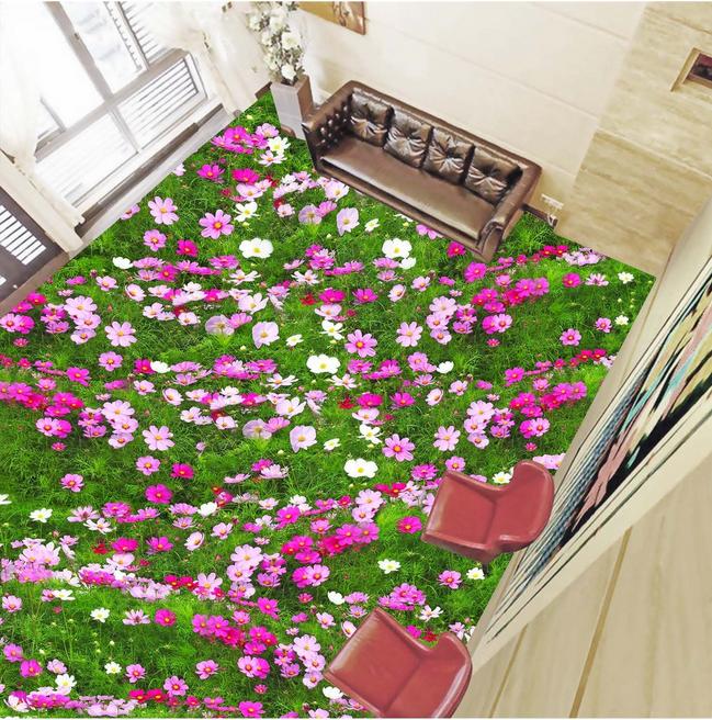 3D lila Flowers 53 Floor WallPaper Murals Wall Print 5D AJ WALLPAPER UK Lemon