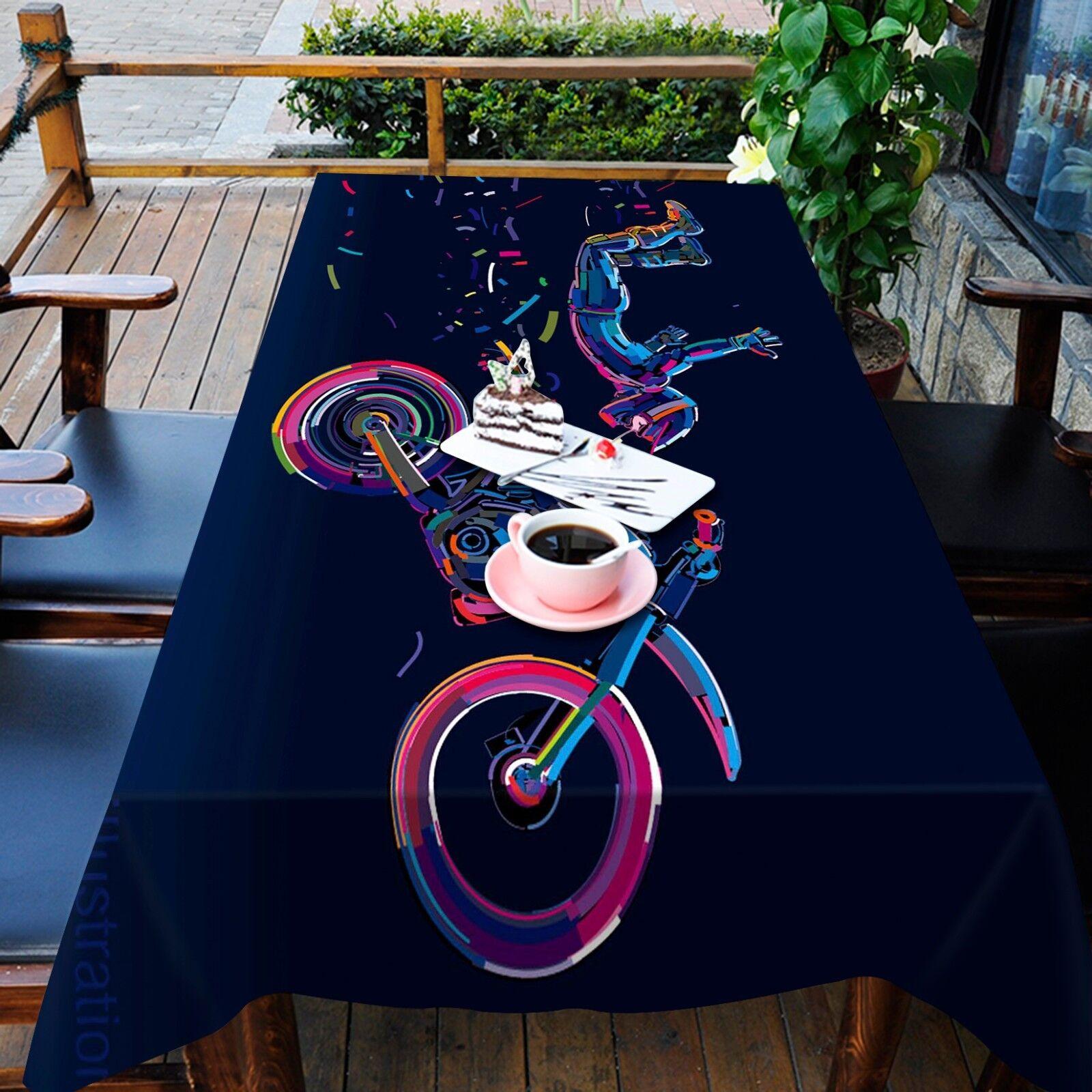 3D Vélo Peinture Nappe Table Cover Cloth fête d'anniversaire AJ papier peint Royaume-Uni Citron