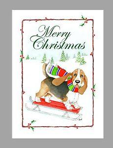 Basset hound dog christmas cards box of 16 cards 16 envelopes ebay image is loading basset hound dog christmas cards box of 16 m4hsunfo