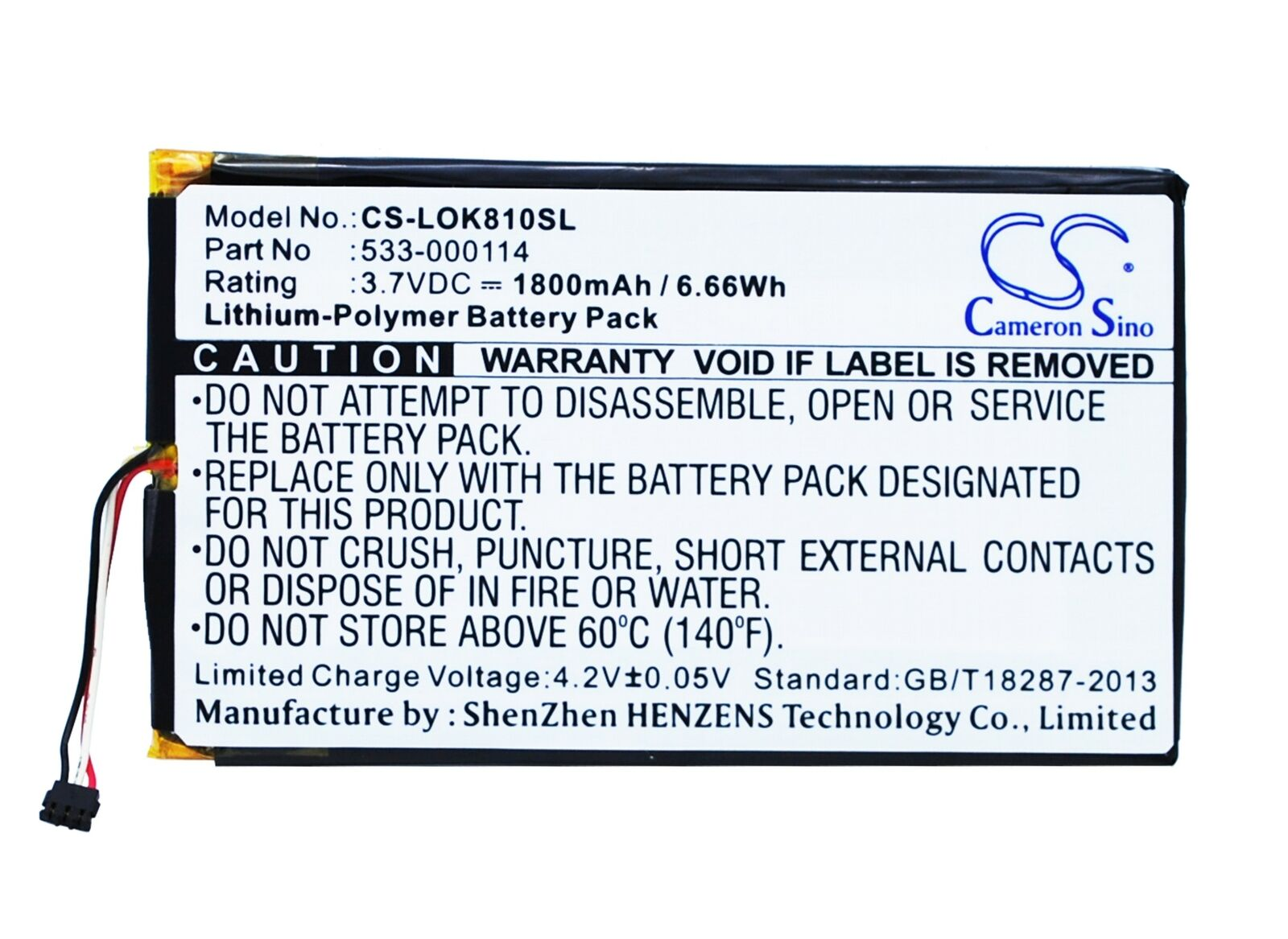 Replacement Battery For Logitech 3.7v 1800mAh / 6.66Wh Keyboard Battery