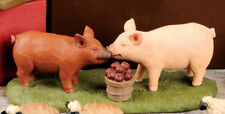 Pig on Straw Resin Figurine Blossom Bucket Country Rustic Farm Animal Prim