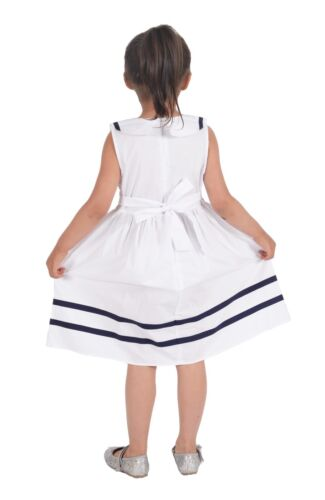 Cinda Girls Bow Summer Party dress in White Blue Red 3 4 5 6 7 Years
